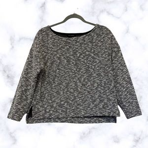 Banana Republic small sweater black white pullover knit salt pepper long sleeve